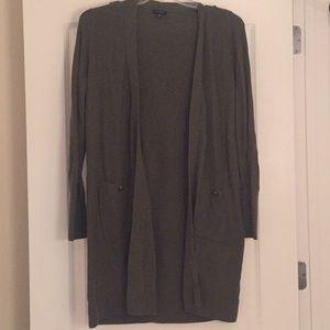 NWOT olive green Talbots open cardigan, sz M